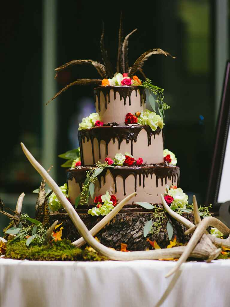 Three-tier chocolate groom's cake for a woodland wedding