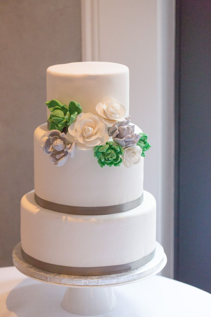 wedding cakes in elizabeth nj classic white wedding cake with green and gray sugar flowers 24633