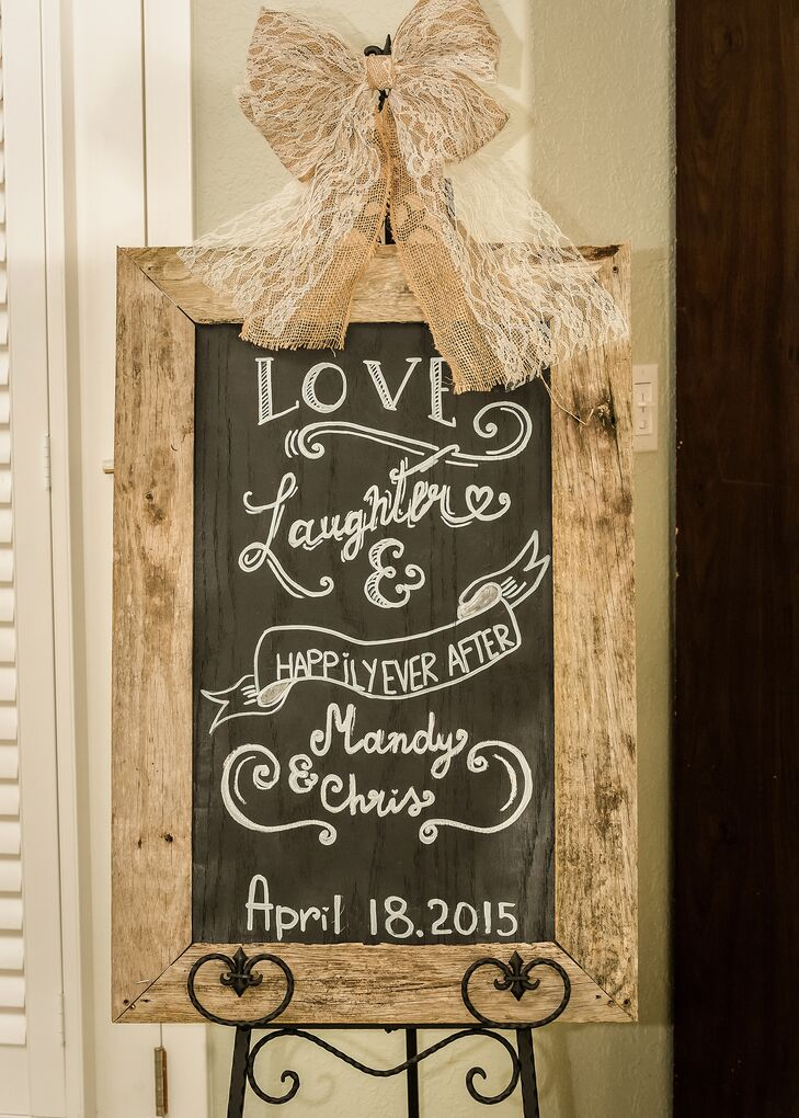 Love and Laughter Wood Chalkboard Sign