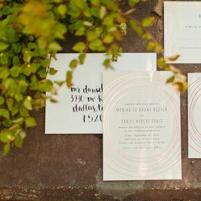 Geometric Rose Gold Wedding Invitations