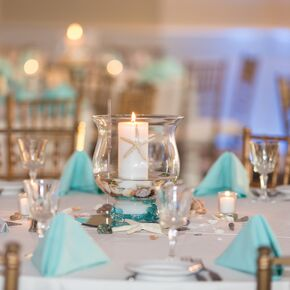 Aqua And White Dining Table With Candle Centerpiece