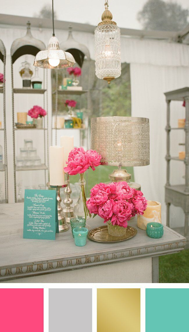 Pink Silver Gold And Aqua Color Palette