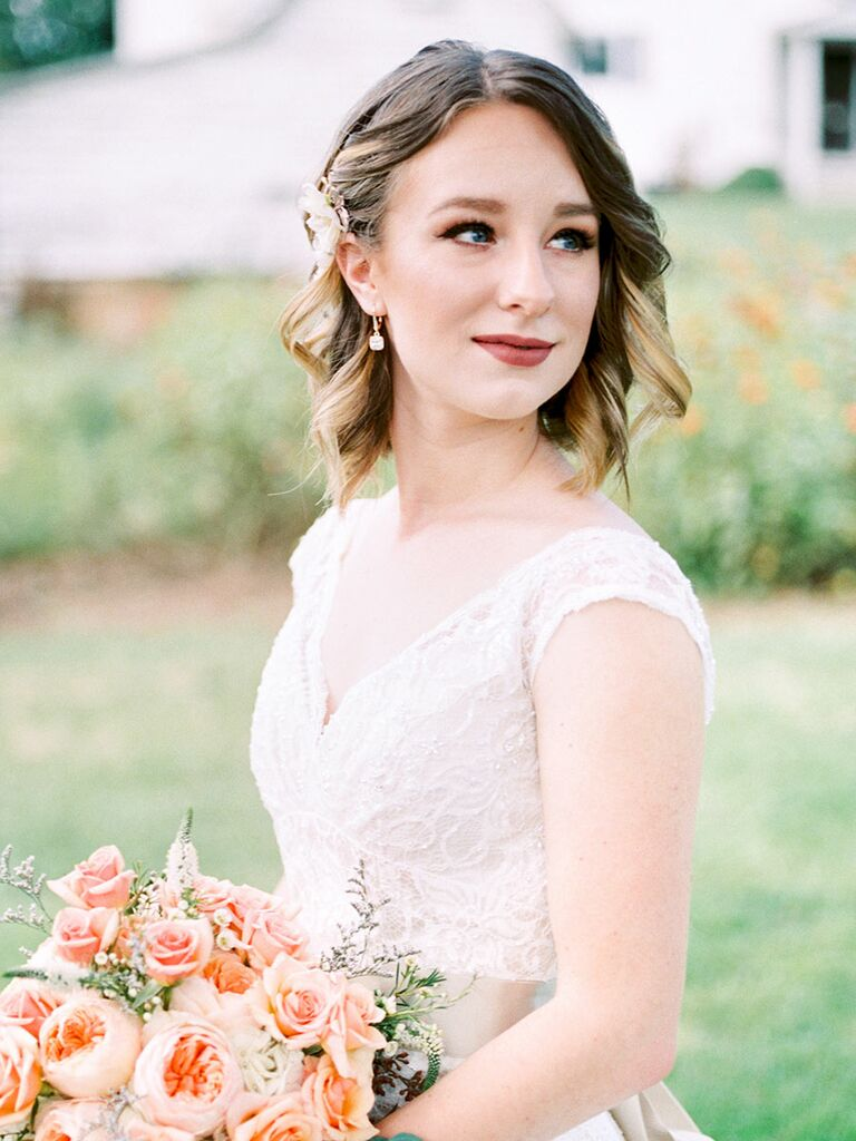 Short brown hair with ombré wedding day hairstyle