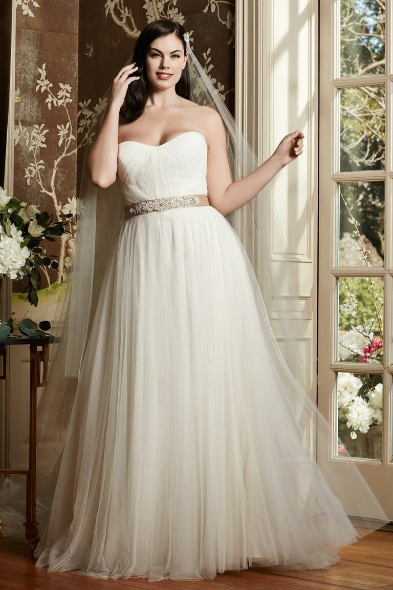 Watters plus size tulle wedding dress