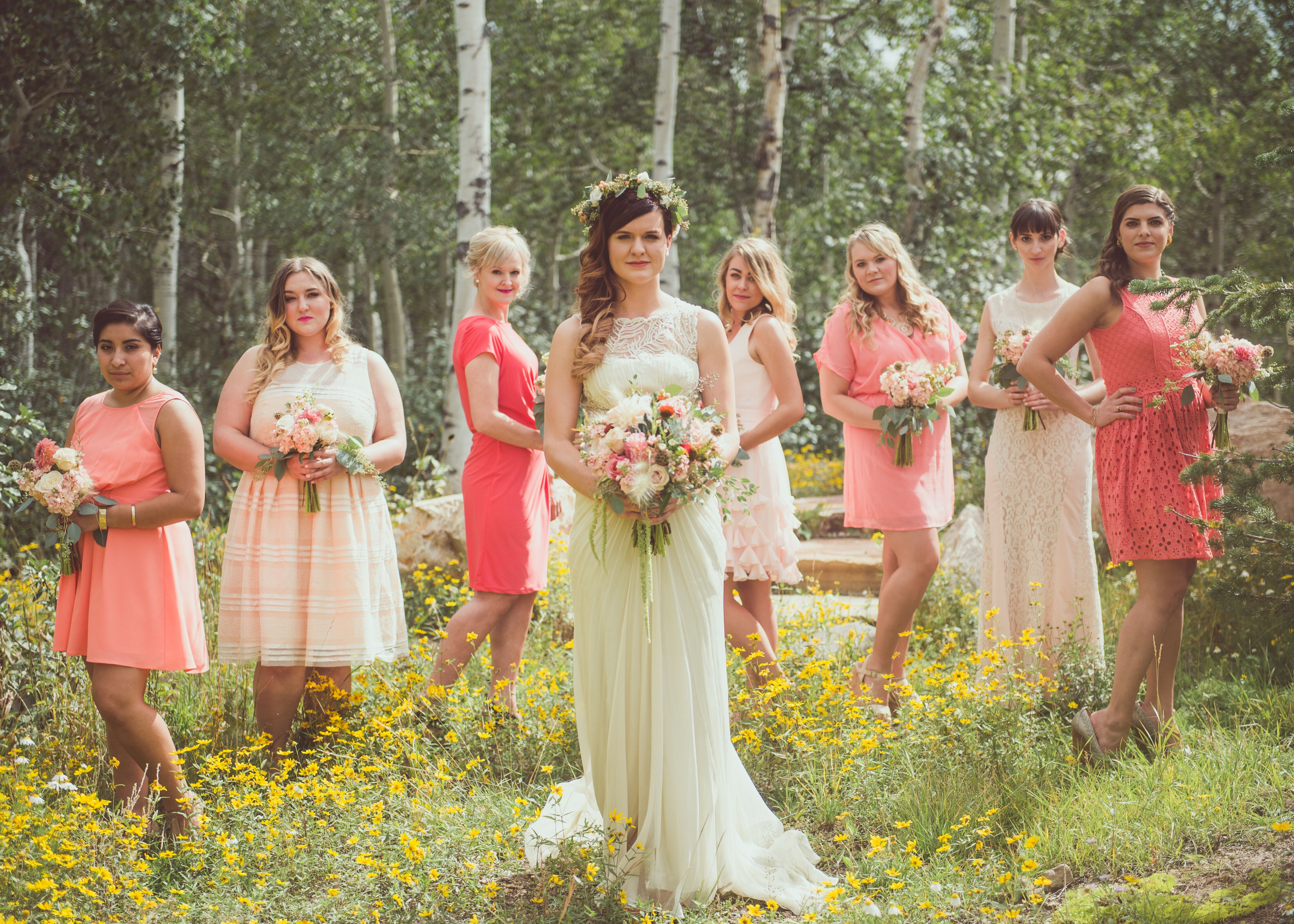 Coral bridesmaid dresses blush and coral bridesmaids dresses in woodland utah ombrellifo Choice Image