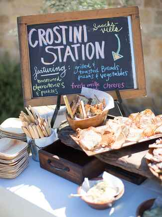 Crostini station idea for fun wedding reception food bar