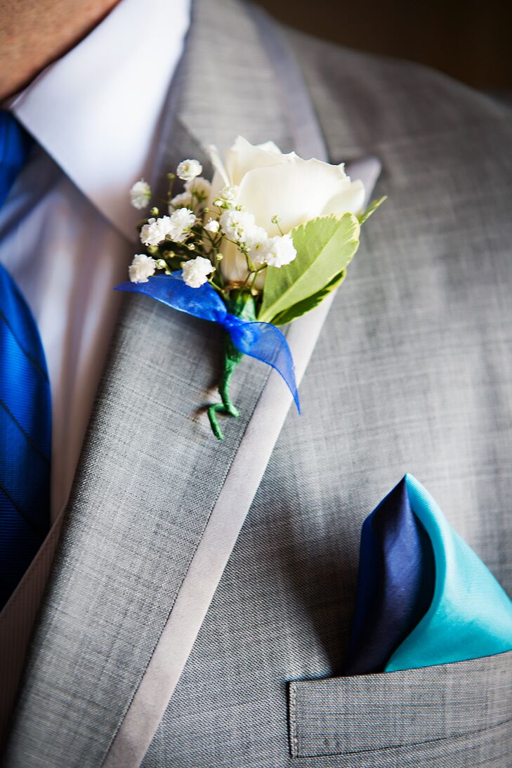 White Rose Boutonniere With Blue Ribbon