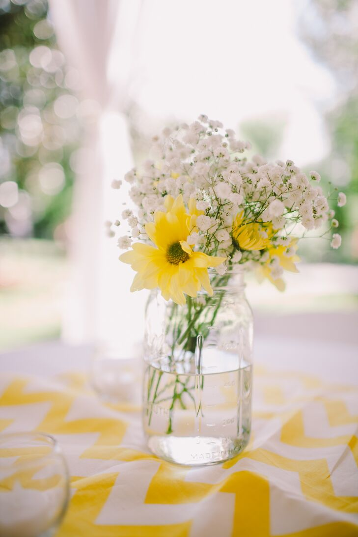 Yellow Daisy and Baby\'s Breath Centerpiece