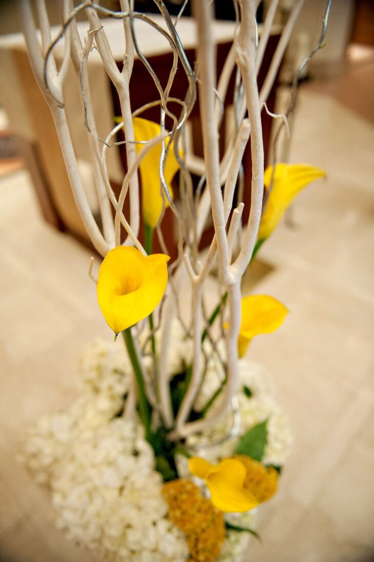 Yellow Calla Lily and Curly Willow Ceremony Accessory