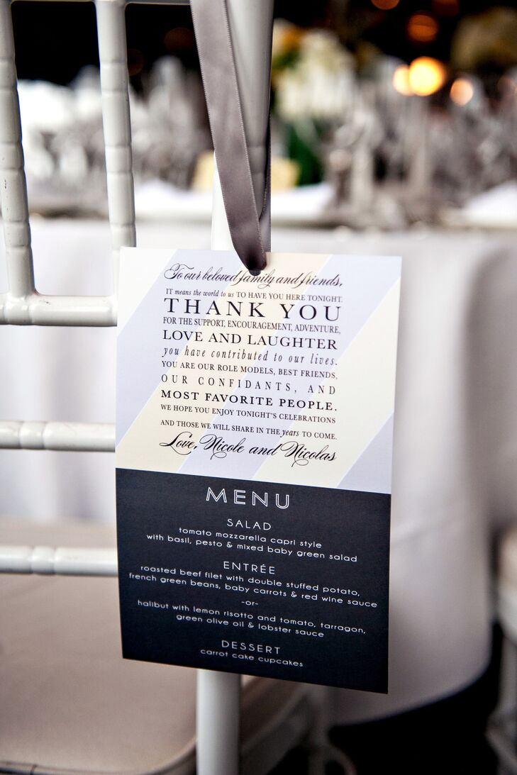 Thank-You Note and Menu Reception Chair Decor