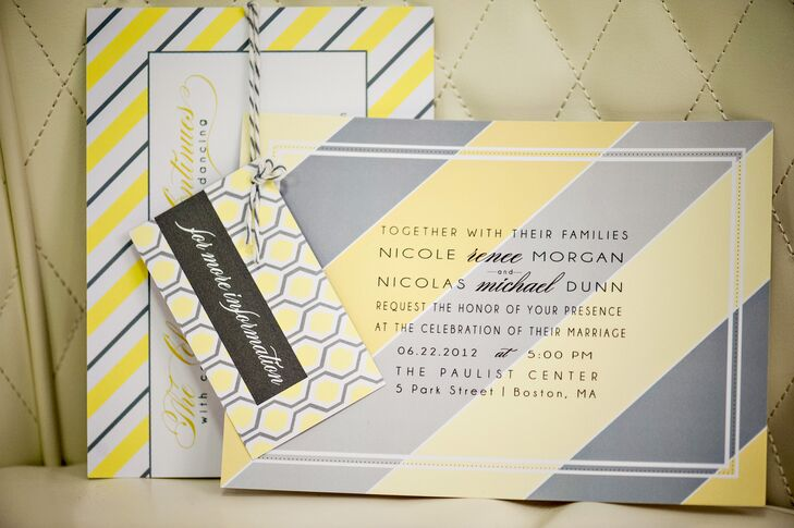 Nicole and Nicolas chose a yellow and gray color palette, opting for a crisp, modern style. Keeping with this look, the wedding invitations and save-the-dates featured a sleek yellow-, gray- and white-striped design with a black font.