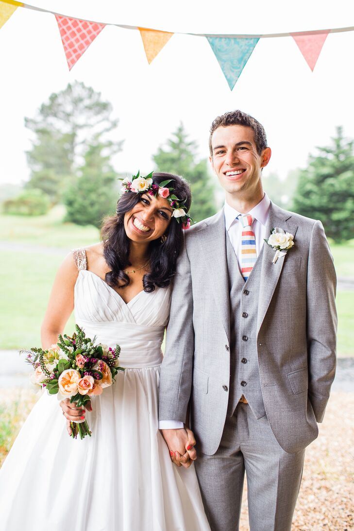 Wanting to look like herself on her wedding day, Sophia wore her hair down, as she always does. Jake mentioned how he loved the look of flower crowns, so Sophia added one to make her feel even more special.