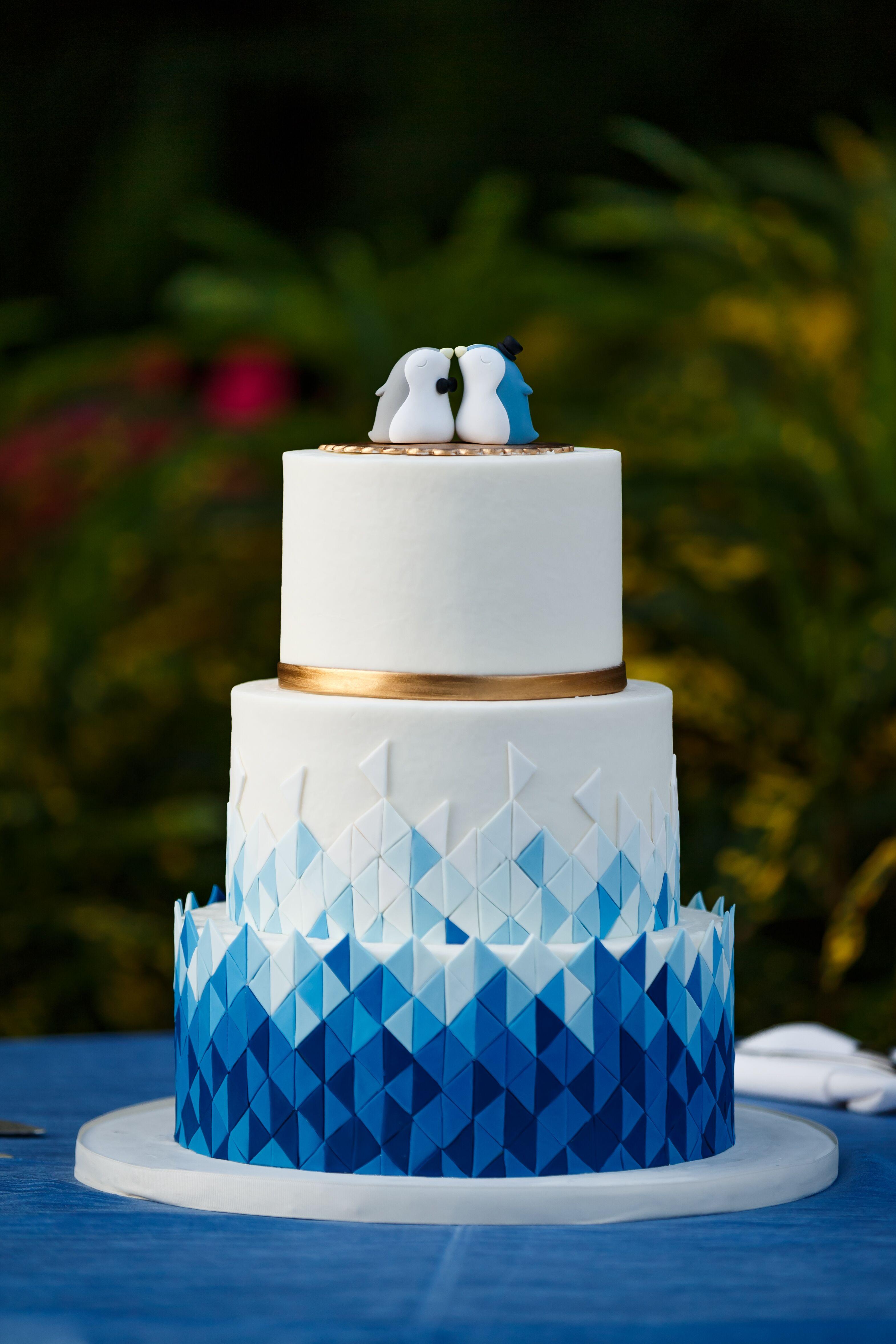 Modern Blue Ombre Geometric Cake