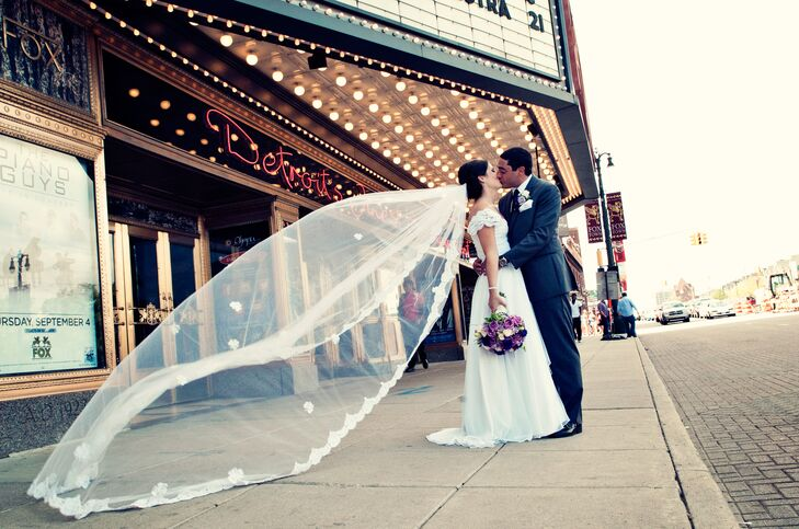 Groom And Bride With Cathedral Length Lace Shamrock Veil