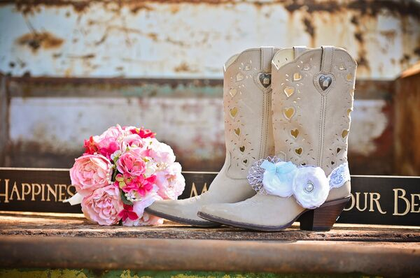 Neutral Cowboy Boots With Heart Cutouts