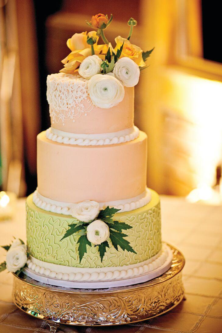 Peach and Green Wedding Cake