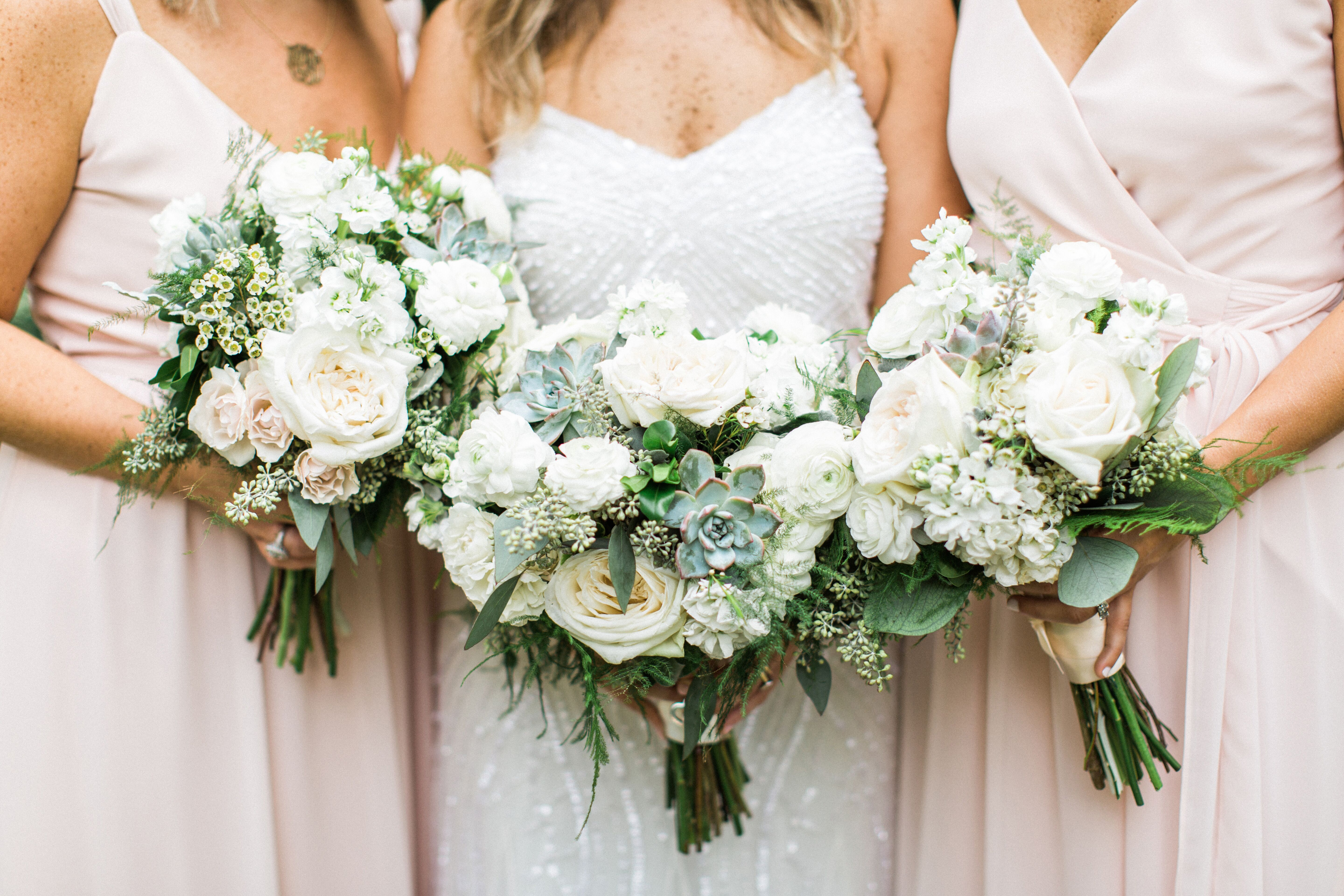 Bohemian Bouquets Of Greenery Succulent White Roses And Baby S Breath