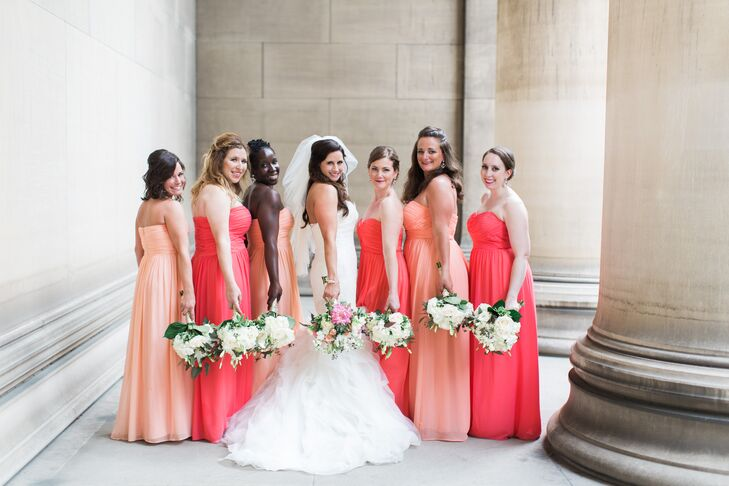 Long Coral and Peach Bridesmaid Dresses