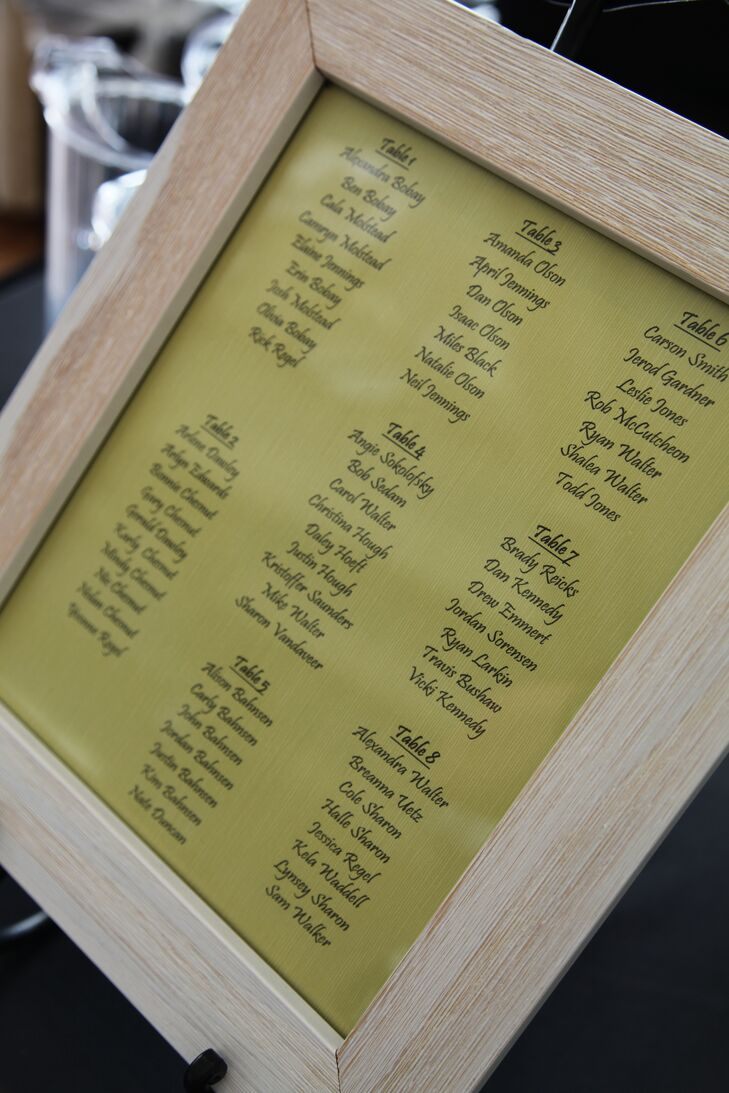 Guests' table placements were printed onto green paper and framed in wood.