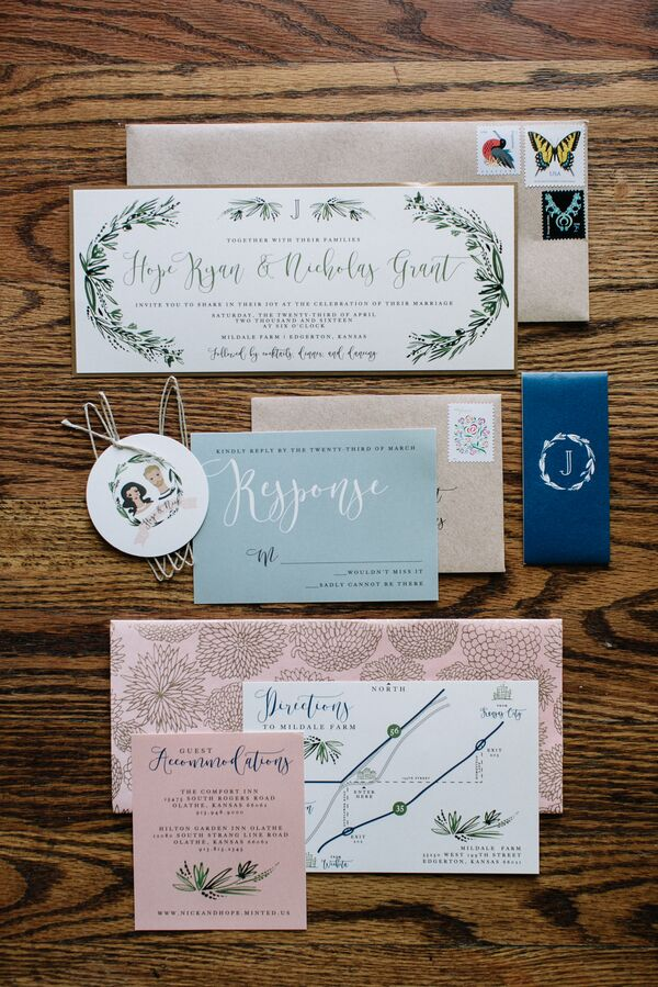 Whimsical Bohemian Wedding Invitation Suite