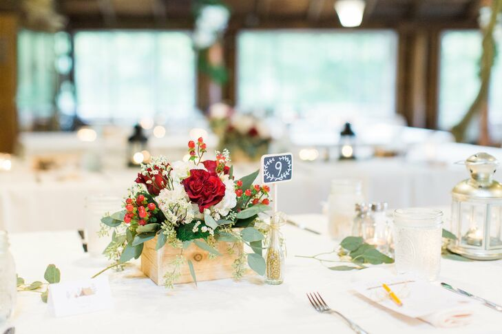 Rustic Wooden Centerpieces with Eucalyptus and Hypericum