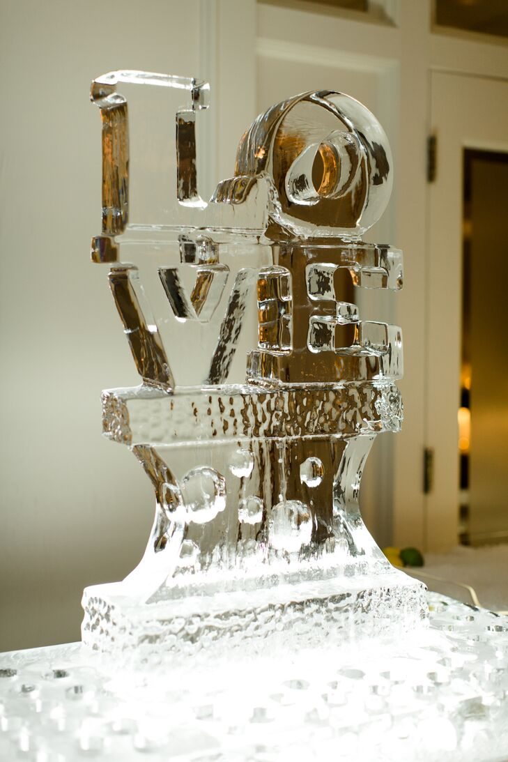 Love Ice Sculpture Cocktail Hour Decor