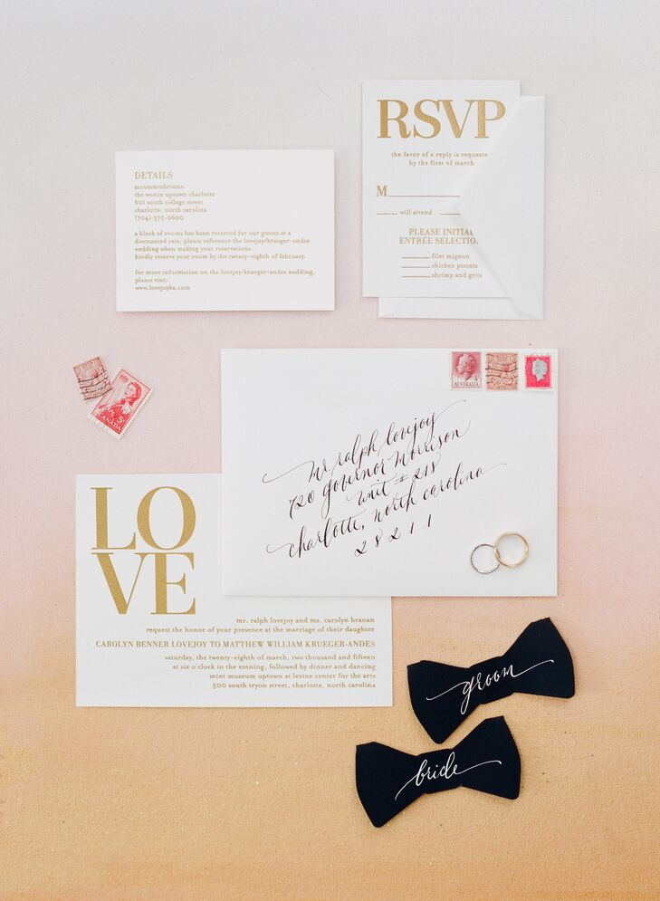 Lynn and Matt wanted a simple, classic design for the invitations to set the tone for the day. They loved the simple ivory paper with gold foil letterpress from Wedding Paper Divas. The simple aesthetic was perfect for their artistic, modern soiree.