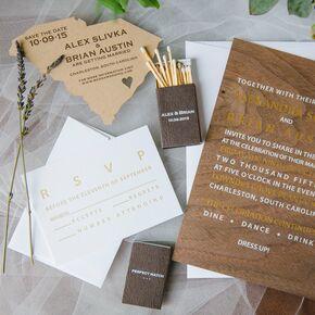 Modern Wood Grain Wedding Invitations And Matches