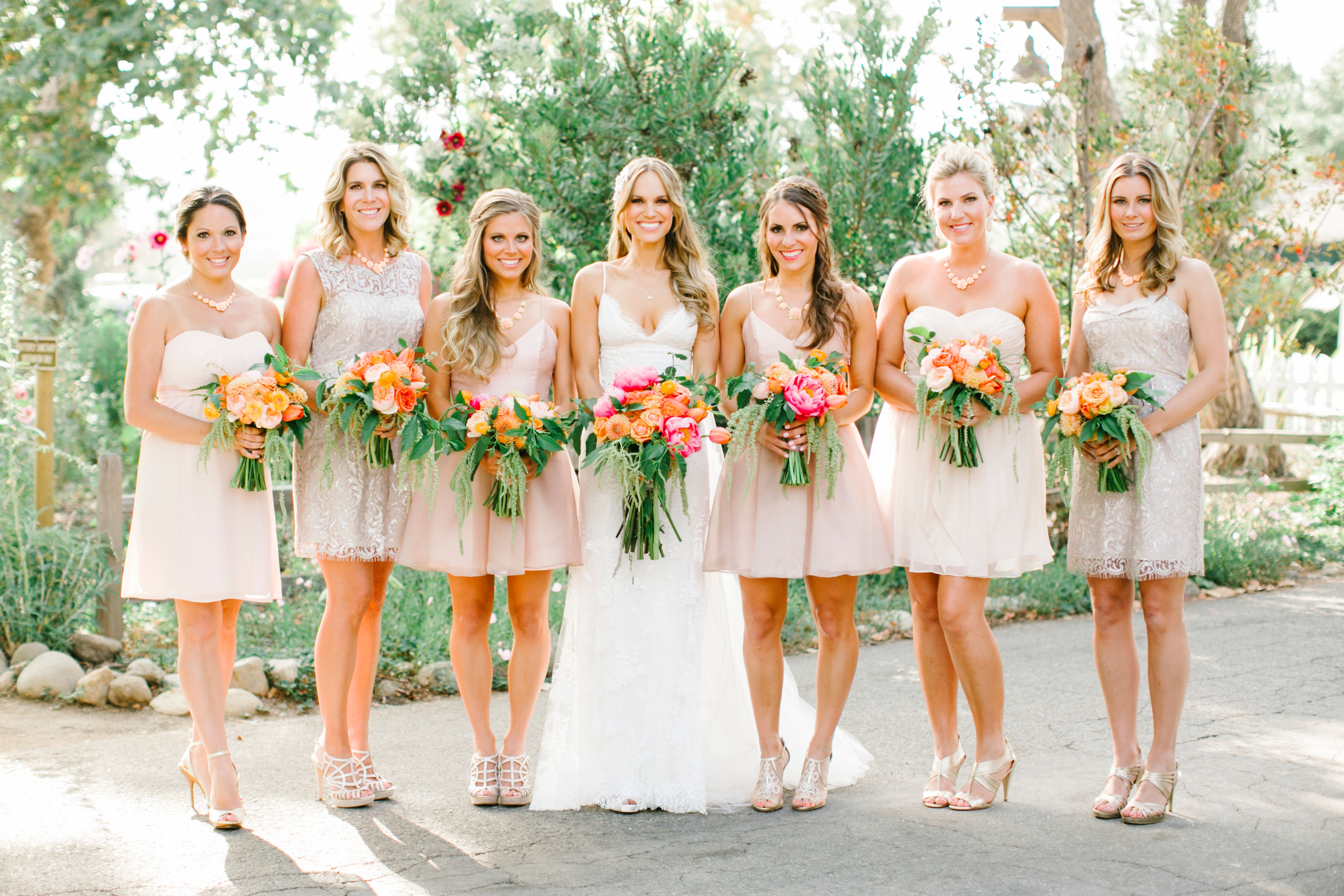 Charcoal and neutral colored wedding party attire neutral colored cocktail bridesmaid dresses ombrellifo Images