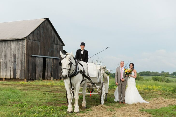 A horse and carriage added a classic, elegant touch to Kelsey's ceremony entrance at her family's farm in Lexington, Kentucky.