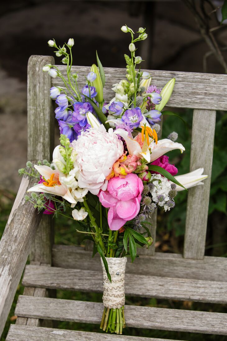 Purple And Pink Wildflower Bridal Bouquet