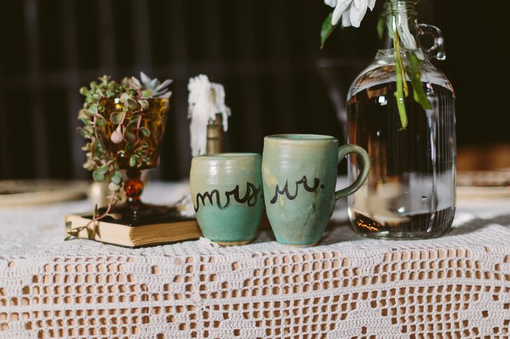 """Mr."" and ""Mrs."" Teal Cups"