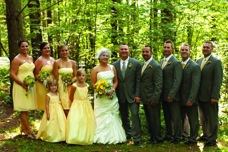 The girls wore knee-length yellow dresses, and the guys coordinated in gray suits.