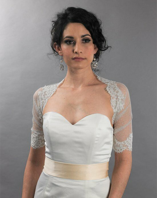 Tulip Bridal Ivory Dot Lace Wrap with Alencon Lace Trim Wedding Accessory photo