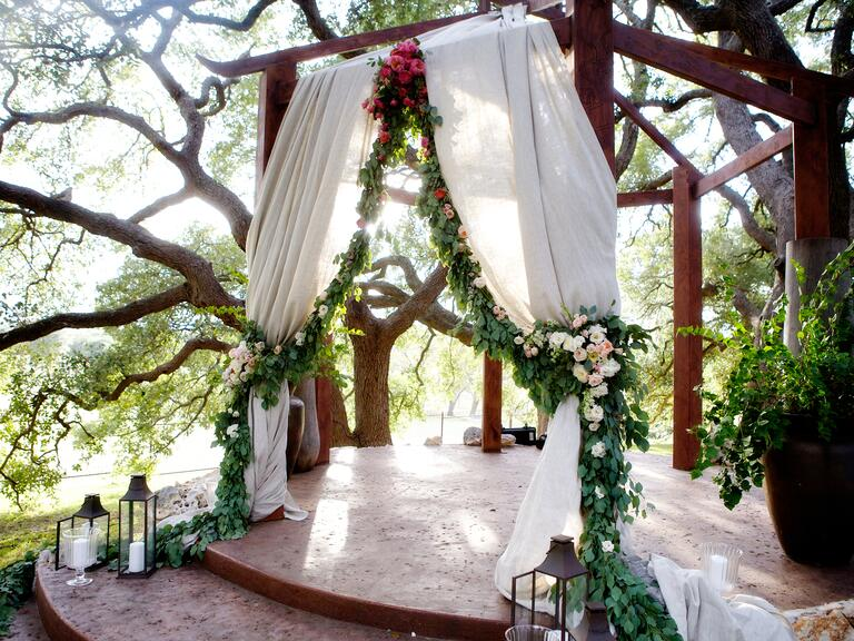 Garland draped chuppah