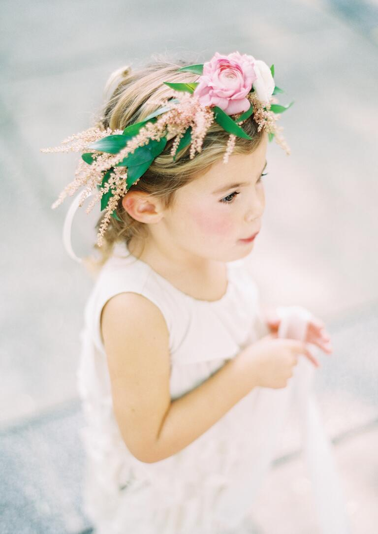 Pink flower crown for flower girl