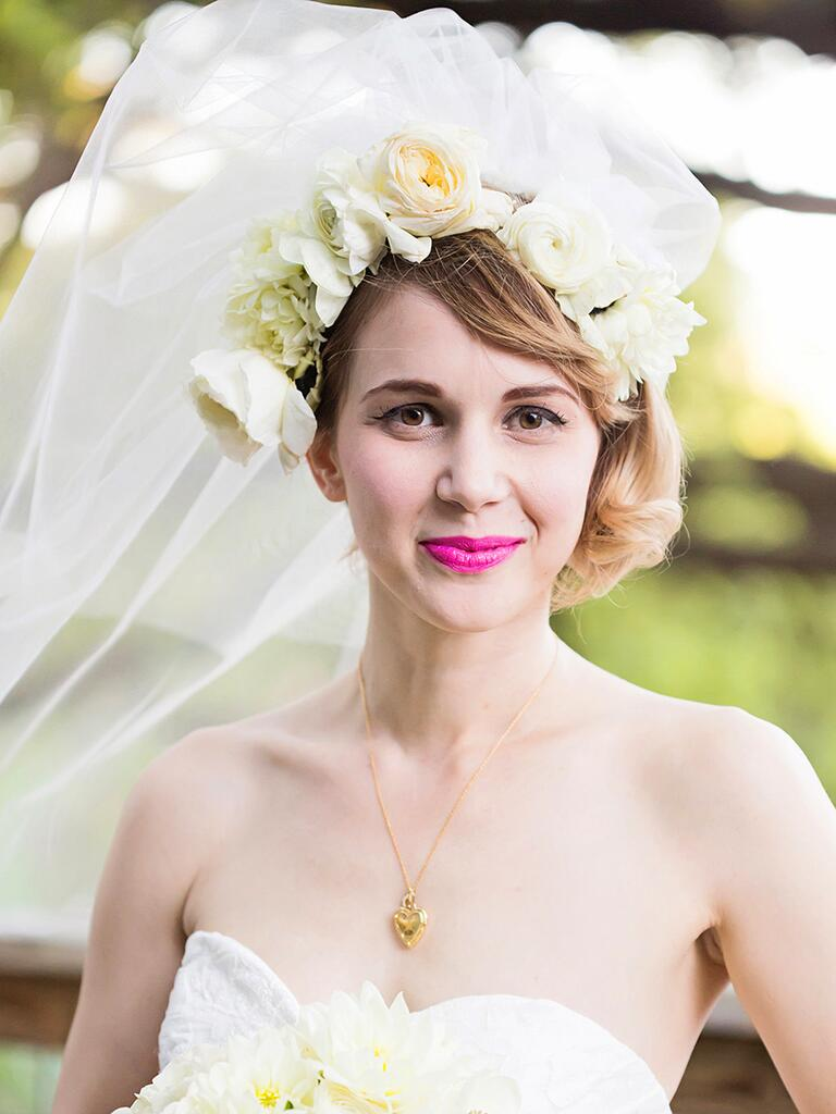 White flower crown with a blusher veil