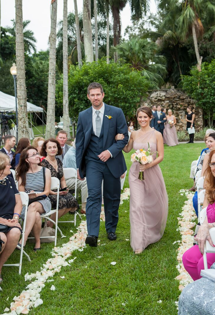 Blush Bridesmaid Dresses And Blue Groomsmen Suits