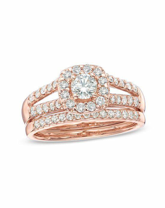 Zales 1 CT T W Princess Cut Quad Diamond Bridal Set in 10K White Gold