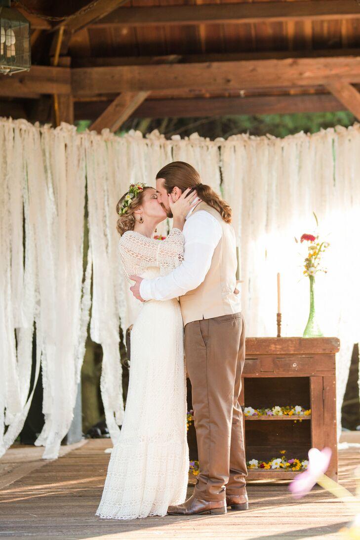 Bhldn Wedding Dress With Crochet Lace