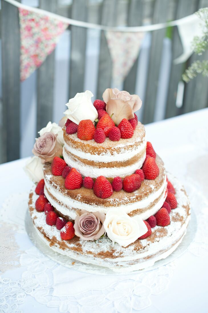 fresh strawberry naked wedding cake. Black Bedroom Furniture Sets. Home Design Ideas