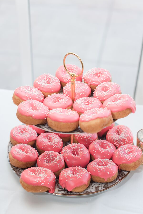 Pink Glazed Donuts with Sprinkles