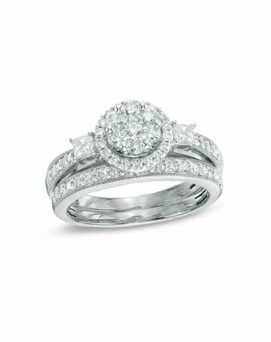 Zales 1 CT. T.W. Round and Princess-Cut Diamond Flower Bridal Set in 10K White Gold  18243410 Engagement Ring photo