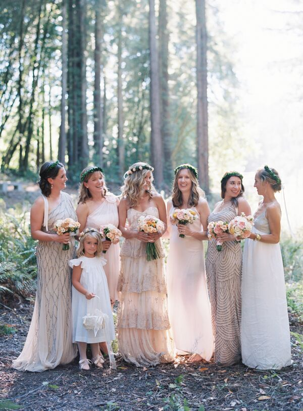 Formal Neutral-Colored Bridesmaid Dresses