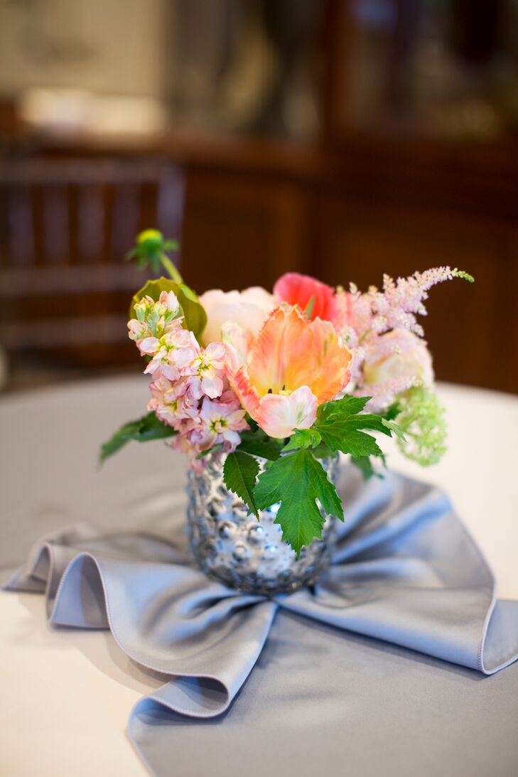 Small coral peony and orchid arrangments