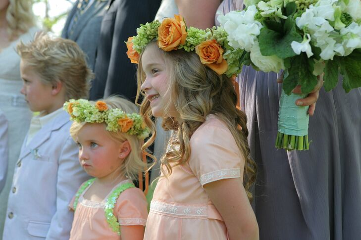 Peach and Pale Green Flower Girl Crowns