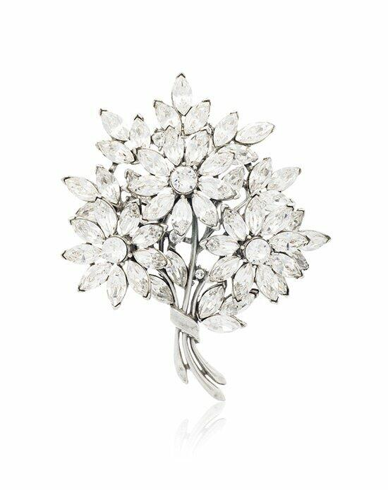 Thomas Laine Large Floral Bouquet Crystal Brooch Wedding  photo