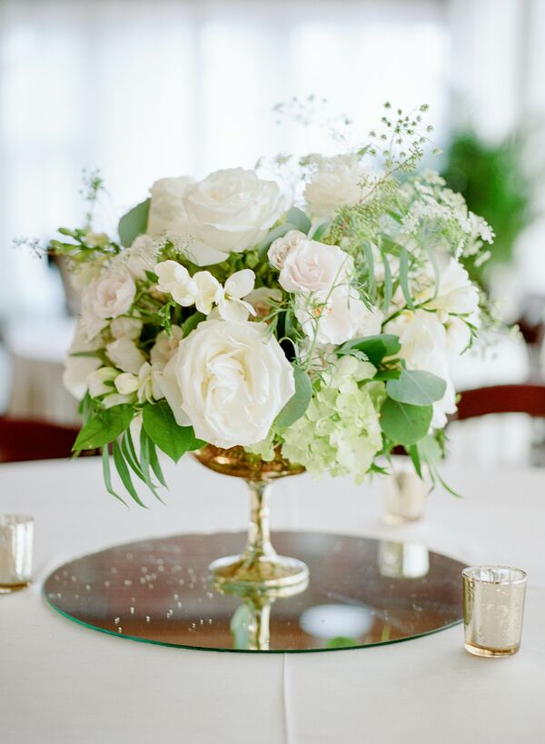 White wedding centerpieces white rose and hydrangea centerpieces on mirror pedestals mightylinksfo