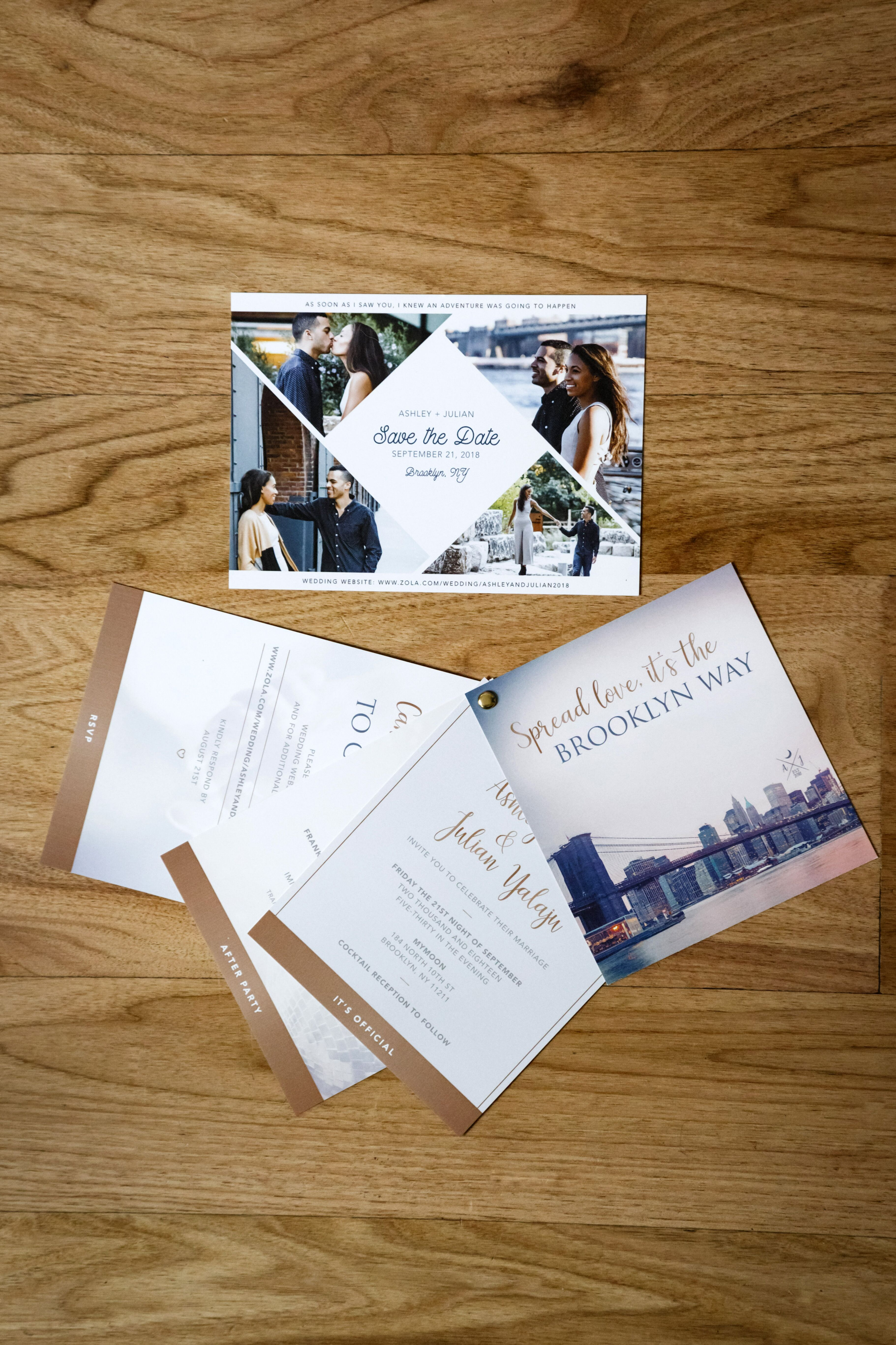 modern stationery suite with photos and typography