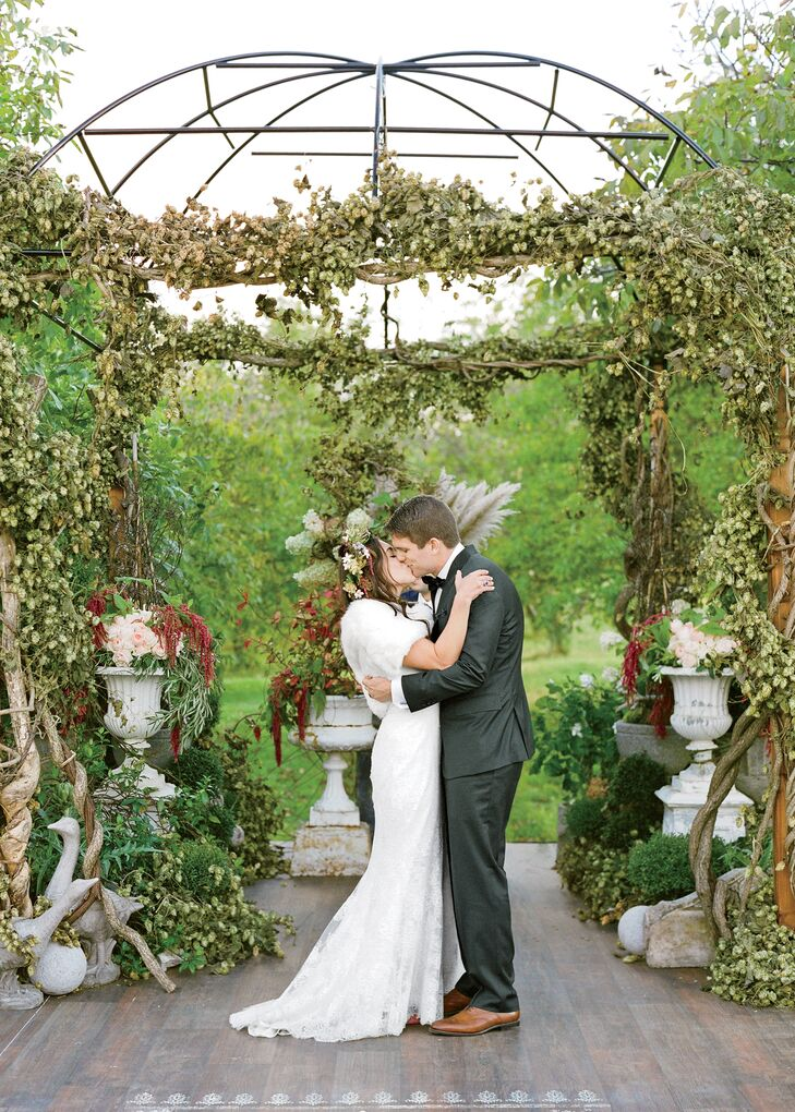 Green Wedding Arch With Vines And Hops